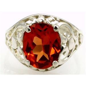 Created Padparadsha Sapphire, 925 Silver Ring, SR004