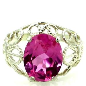 SR162, Created Pink Sapphire 925 Silver Ring