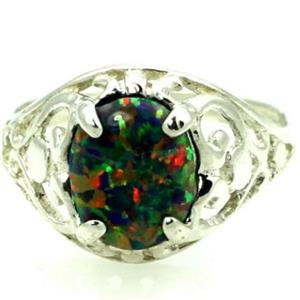 SR004, Created Black Opal 925 Sterling Silver Ring