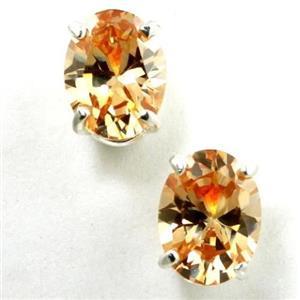 925 Sterling Silver Post Earrings, Champagne CZ, SE002