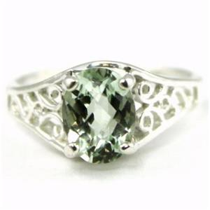 SR305, Green Amethyst 925 Sterling Silver Ring