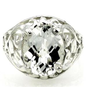SR162, Silver Topaz, 925 Sterling Silver Ring