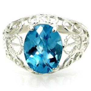 SR162, Swiss Blue Topaz, 925 Sterling Silver Ring