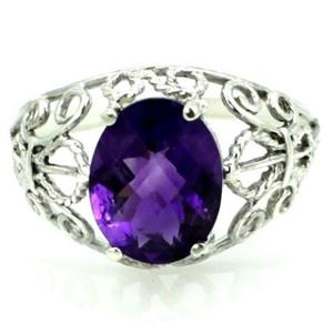 SR162, Amethyst, 925 Sterling Silver Ring