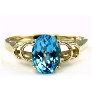 R300, Swiss Blue Topaz Gold Ring