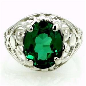 SR004, Russian Nanocrystal Emerald, 925 Sterling Silver Ring