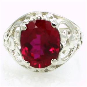 SR004, Created Ruby, 925 Sterling Silver Ring
