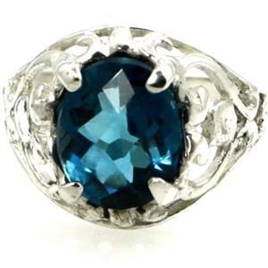SR004, London Blue Topaz, 925 Sterling Silver Ring