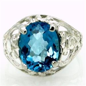 SR004, Swiss Blue Topaz, 925 Sterling Silver Ring