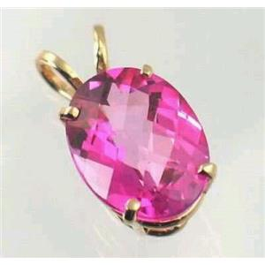 P004, Pure Pink Topaz 14k Gold Pendant