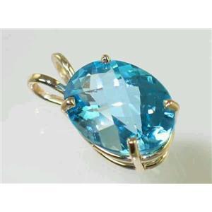 P004, Swiss Blue Topaz 14k Gold Pendant