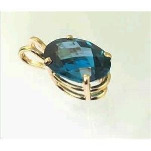 P006, London Blue Topaz 14k Gold Pendant
