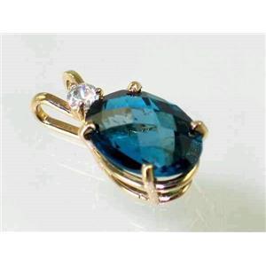 P019, London Blue Topaz 14K Gold Pendant