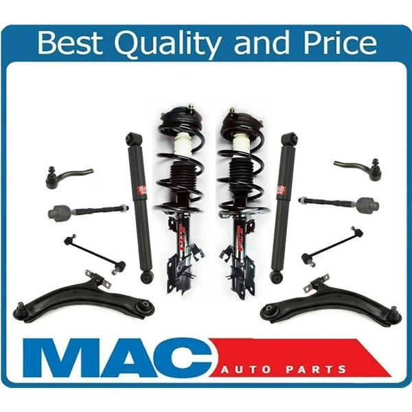 For 08-12 Rogue FWD Model Frt Coil Spring Struts Control Arms Ball Tie Rods 12Pc