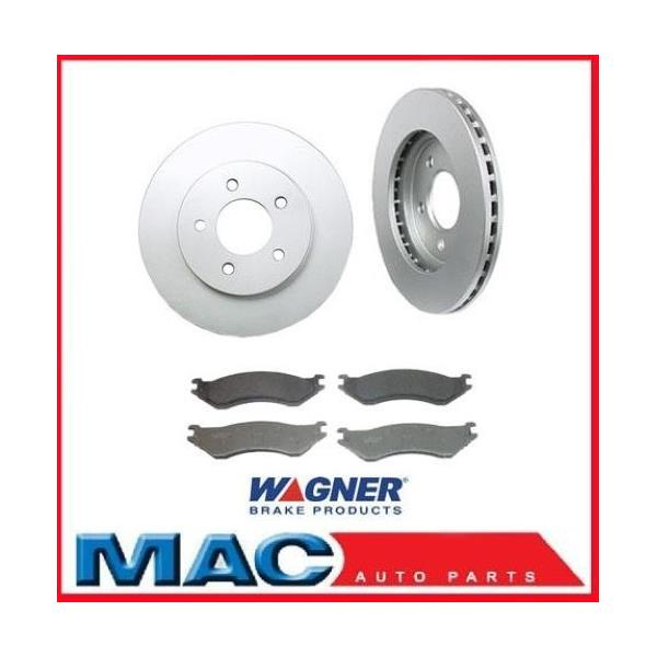 2000 2001 Dodge Pickup Ram 1500 4x4 Disc (2) Front Disc Brake Rotors & Wagner Brake Pads