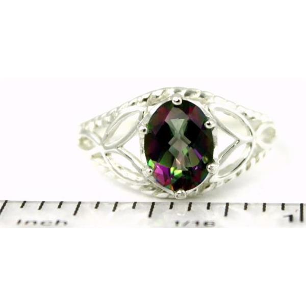 Mystic Fire Topaz 925 Sterling Silver Leaf Solitaire Ring
