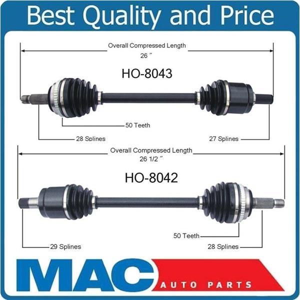 98 02 Accord V6 01 03 Acura CL 99 TL L R 2 New CV Drive Axle Shaft Mac Auto Parts